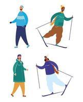 personnes interraciales portant des vêtements d'hiver et le ski