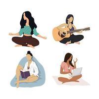 groupe interracial de quatre jeunes femmes faisant des activités