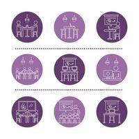 lot d'avatars de travailleurs violets, icônes de style de ligne de coworking
