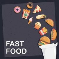 lot de onze icônes de restauration rapide en boîte et lettrage vecteur