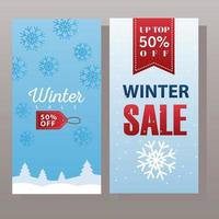 grande affiche de vente d'hiver avec étiquette suspendue et ruban