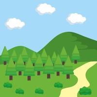 scène de paysage en plein air vecteur