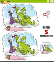 jeu éducatif de différences avec rêve fantastique