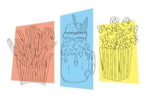 paquet de trois icônes dessinées à la main de restauration rapide