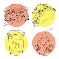 paquet de quatre icônes dessinées à la main de restauration rapide