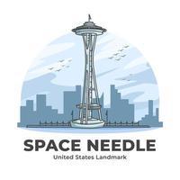 Space Needle United States Landmark minimaliste dessin animé vecteur