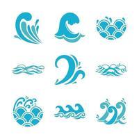 jeu d'icônes de vagues et de l'eau vecteur