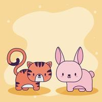 jolie carte avec tigre kawaii et lapin