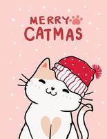 carte de voeux joyeux noël avec chat mignon vecteur