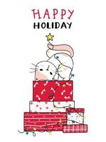 chat mignon sur une pile de cadeaux de Noël