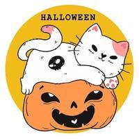 mignon chat d'halloween avec citrouille vecteur