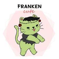 chat mignon dans un costume de frankenstein pour la célébration d'halloween vecteur