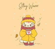 chat mignon avec un manteau d'hiver chaud vecteur