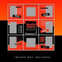 modèle de puzzle de médias sociaux vendredi noir avec style hype et couleur néon pour promotion vente discount