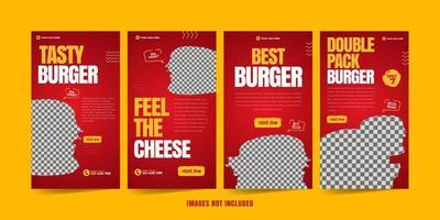 burger pour l'ensemble de modèles de publicité sur les réseaux sociaux vecteur