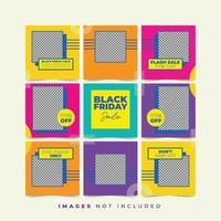puzzle de médias sociaux vendredi noir avec collection de couleurs tendance vecteur
