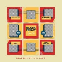collection de publications de puzzles sur les réseaux sociaux vendredi noir vecteur