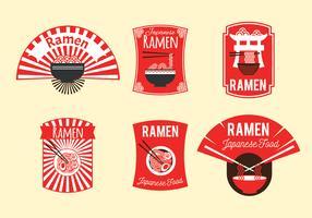 Ensemble d'illustration de badge ramen japonais sur fond marron vecteur