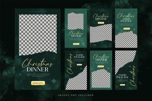 modèle de bannière de dîner de nourriture de noël pour la publicité sur les médias sociaux vecteur