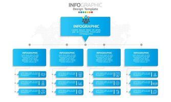 diagramme de flux infographique avec thème icônes bleu vecteur