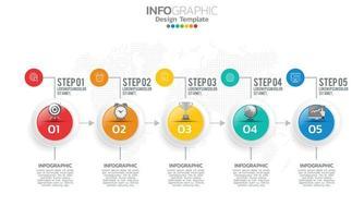 Éléments infographiques de la chronologie des affaires avec 5 sections ou étapes vecteur