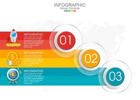modèle infographique vectoriel avec trois options et icônes.