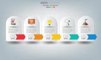 éléments infographiques commerciaux avec 5 sections ou étapes vecteur