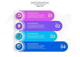 modèle infographique vectoriel avec quatre options et icônes.