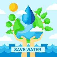 Sauvegarder l'affiche de l'eau vecteur