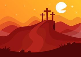 Mont calvaire avec trois croix fond vecteur