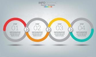 éléments infographiques commerciaux avec 4 sections ou étapes vecteur