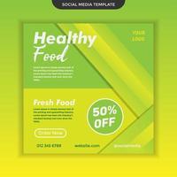 modèle de nourriture saine de médias sociaux modernes. facile à utiliser. vecteur premium