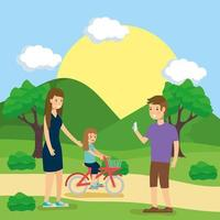 famille faisant des activités de plein air vecteur