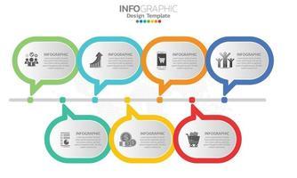 éléments infographiques commerciaux avec 7 sections ou étapes vecteur
