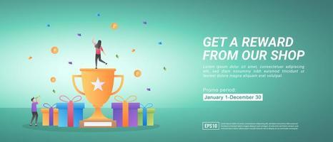 programmes de récompense et de promotion. obtenir des récompenses en faisant des achats en ligne. cadeaux pour les clients fidèles. vecteur