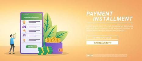 concept de paiement échelonné. les paiements de factures à l'aide de l'application mobile. Internet payant, eau, bons de jeux vecteur