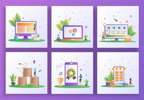 ensemble de concept de design plat. apprentissage en ligne, maintenance, recrutement en ligne, distribution logistique