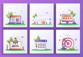 ensemble de concept de design plat. gestion, investissement, image de marque, démarrage, calendrier