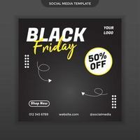modèle de vente de vendredi noir de médias sociaux. facile à utiliser. vecteur premium