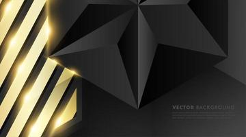 polygone noir gris avec fond effet de lumière or vecteur