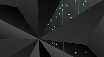 fond géométrique de vecteur abstrait. modèle polygonal vecteur gris foncé et points connectés ligne bleue
