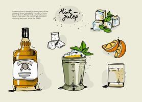 Ingrédients de Julep de menthe fraîche dessinés à la main Vector Illustration