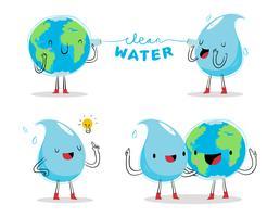 Illustration vectorielle de mascotte de caractère eau propre plaidoyer