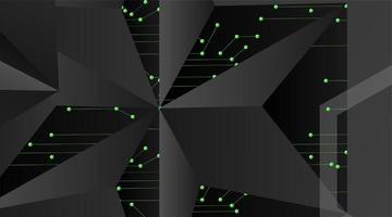 fond géométrique de vecteur abstrait. modèle polygonal vecteur gris foncé et points connectés ligne verte