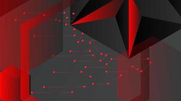 fond géométrique de vecteur abstrait. modèle polygonal vecteur gris foncé et points connectés en ligne rouge