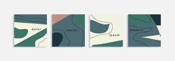 ensemble de vecteurs d'arrière-plans minimaux avec des formes organiques abstraites, ligne de tirage à la main et exemple de texte. collage contemporain. couverture élégante minimale pour la conception de la marque.
