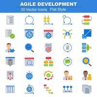 icônes de développement agile à plat