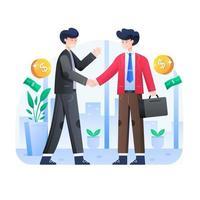 2 personnes se serrant la main à des fins professionnelles vecteur