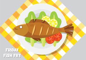 Une assiette de poisson frit vecteur