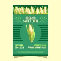 Vecteur de Flyer de marché de maïs bio Sweet Sweet